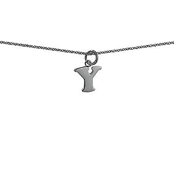 Silver 11x12mm plain Initial Y Pendant with rolo Chain 14 inches Only Suitable for Children
