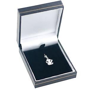 Silver 23x12mm Teddy Bear Charm on a lobster trigger
