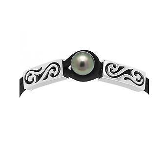 Armbånd kvindelige Tribal neopren Tahitian Pearl og sølv 925