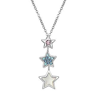 Pendant woman star Crystal Swarovski Elements white, blue and pink