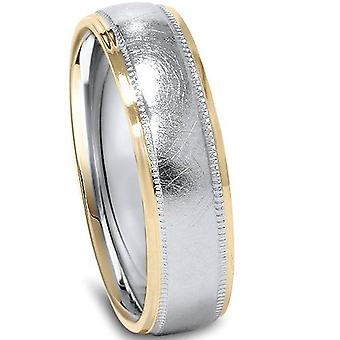 6mm 14K White & Yellow Gold Two Tone Wedding Band