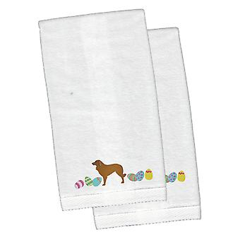 Estrela Mountain Dog Easter White Embroidered Plush Hand Towel Set of 2