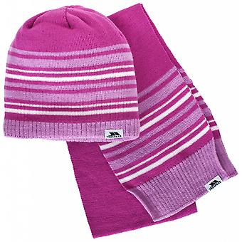 Trespass Boys & Girls Hedgehog Fleece Lined Beanie Hat & Scarf Set
