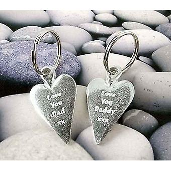 Love You Dad xx Heart Pewter Key Ring