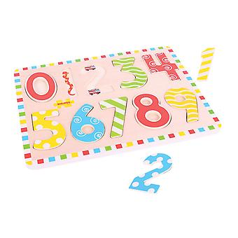 Bigjigs Toys Wooden Inset Puzzle (Numbers) Educational Counting Maths Jigsaw
