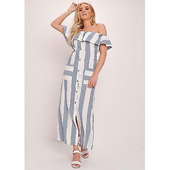 Raidallinen Bardot painiketta kautta Maxi mekko Multi