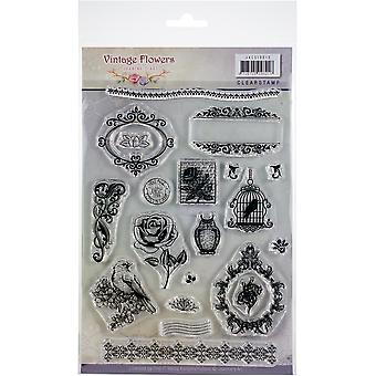 Find It Trading Jeanine's Art Clear Stamps-Vintage Flowers