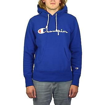 Champion Reverse Weave Script Pullover Hoody (Blue)