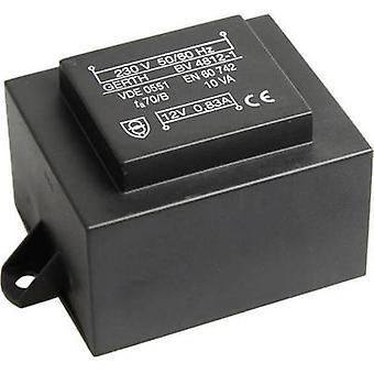 PCB de montaje transformador 1 x 230 V 2 x 15 V AC 10 VA 333 mA