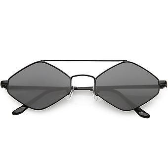 Diamond Shape Sunglasses Metal Crossbar Neutral Colored Flat Lens 55mm