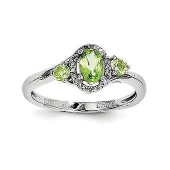 925 Sterling Silver Polished Open back Rhodium-plated Peridot Diamond Ring - Ring Size: 6 to 9
