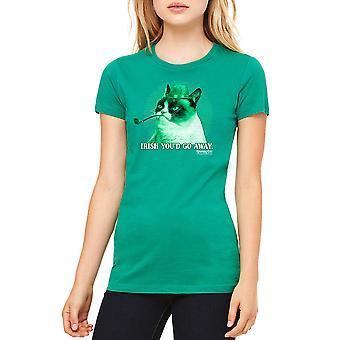 Kelly verde divertido t-shirt gato gruñón irlandés cascarrabias de la mujer