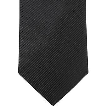 Knightsbridge Neckwear Plain Diagonal Ribbed Tie - Black