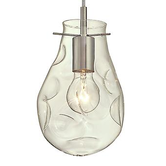 One Light Indoor Pendant Brushed Nickel Finish with Clear Indented Teardrop Glass