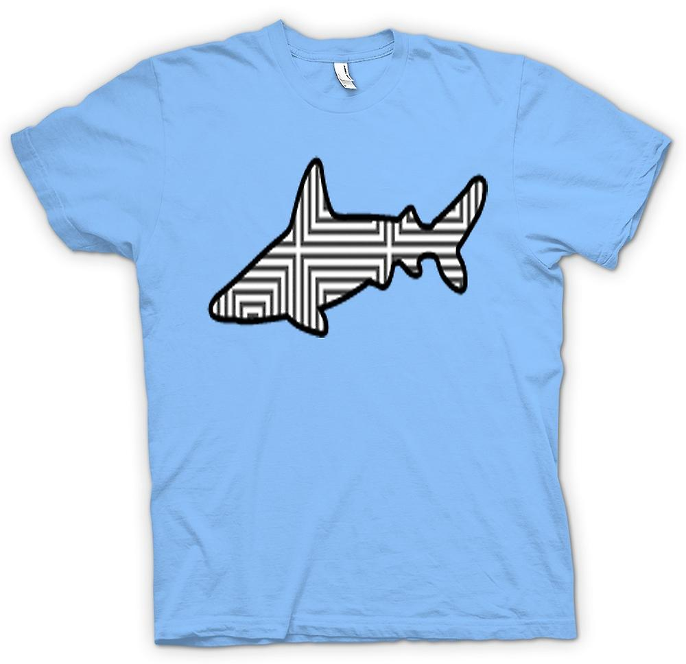 Mens T-shirt - Shark With Pattern Design