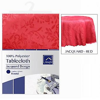 72 INCHES ROUND POLYESTER TABLE CLOTH COVER RED JACQUARD DESIGN