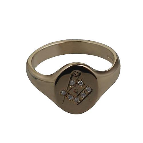 9ct Gold 14x12mm hand engraved Masonic diamond set Ring Size W