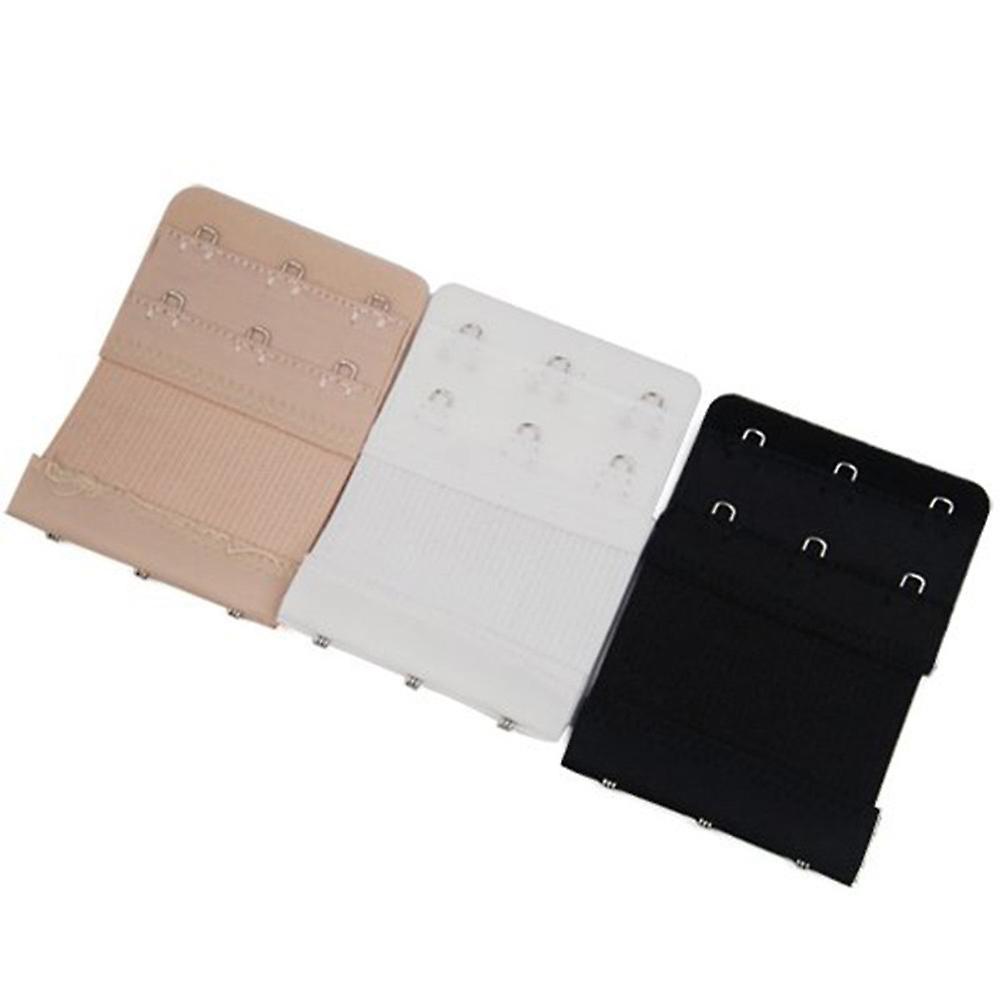 TRIXES 3PC Neutral Pack of 3 Hook Bra Extension Straps, adjustable flexible comfortable