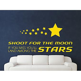 Shoot For The Moon Wall Art Sticker - Dark Yellow