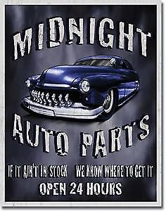 Midnight Auto Parts metal sign