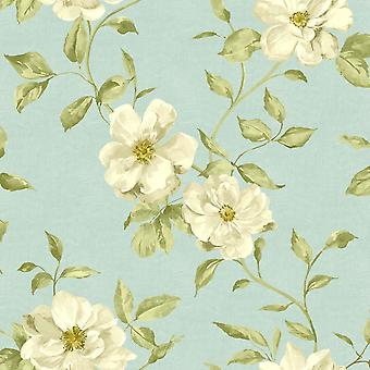Blaugrün Floral Tapeten Ideco Chloe Grandeco White Flower Muster Blatt Motiv Papier