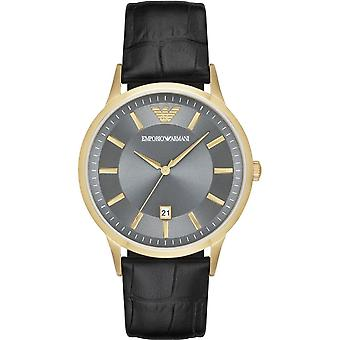 Armani Watches Ar11049 Gold & Black Textured Leather Men's Watch