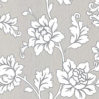Flower Floral Wallpaper Textured Vinyl Grey Silver Glitter Cream Anya Arthouse