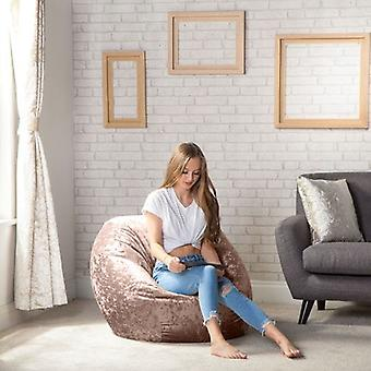 Zerkleinerter Velvet Look ' Palais ' Chocolate Large Classic Round Bean Bag