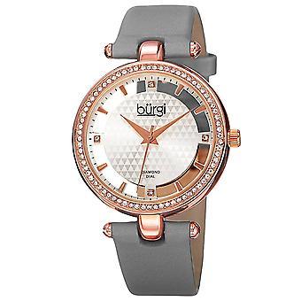 New Women's Burgi BUR104GY Rose-tone Swiss Quartz Diamond Grey Satin Strap Watch