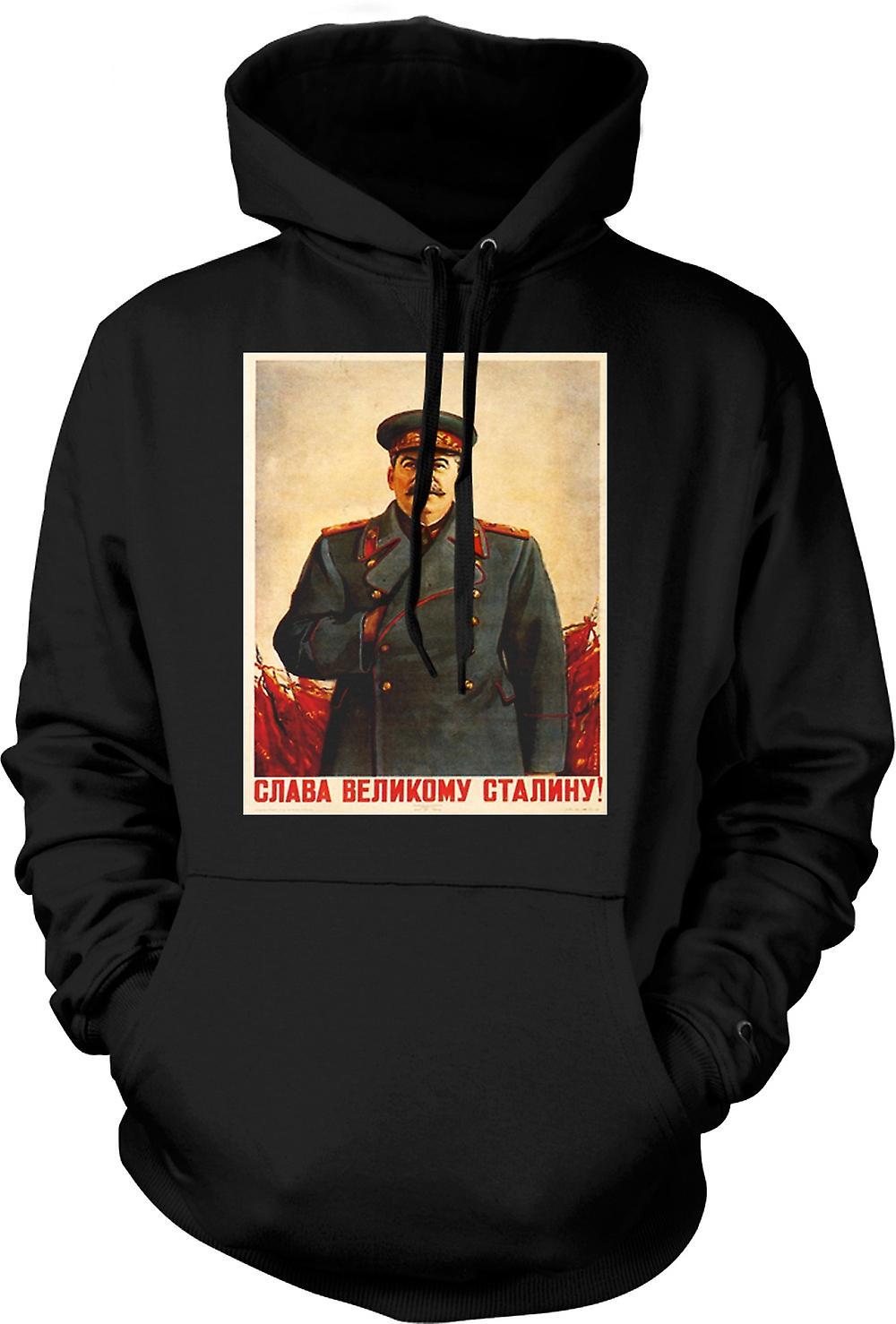 Mens Hoodie - Russian Propoganda Poster - Stalin