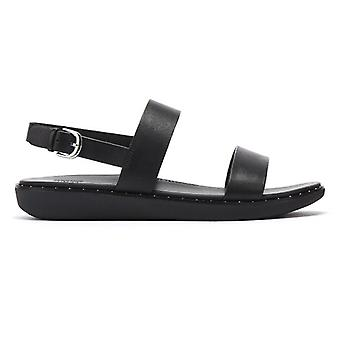 FitFlop Barra Leather Womens Black Sandals