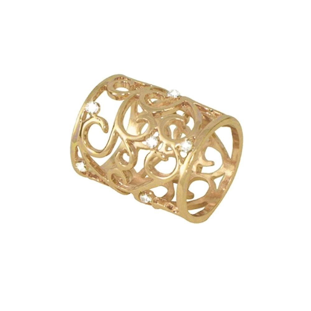 Eternal Collection Artiste Clear Crystal Gold Tone Scarf Ring