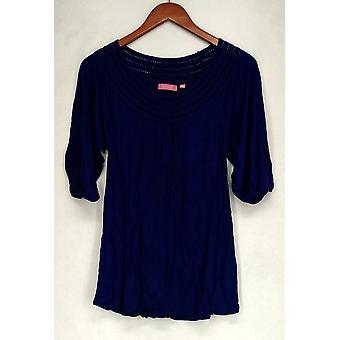 Ava Rose Lattice Embellished 3/4 Sleeve Knit Tee Lapis Blue Top Womens