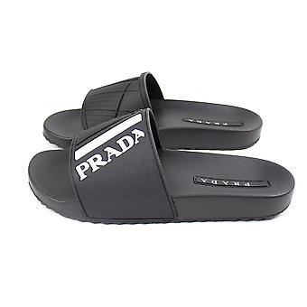 Prada Logo-Embossed Rubber Sliders Black/White/Grey