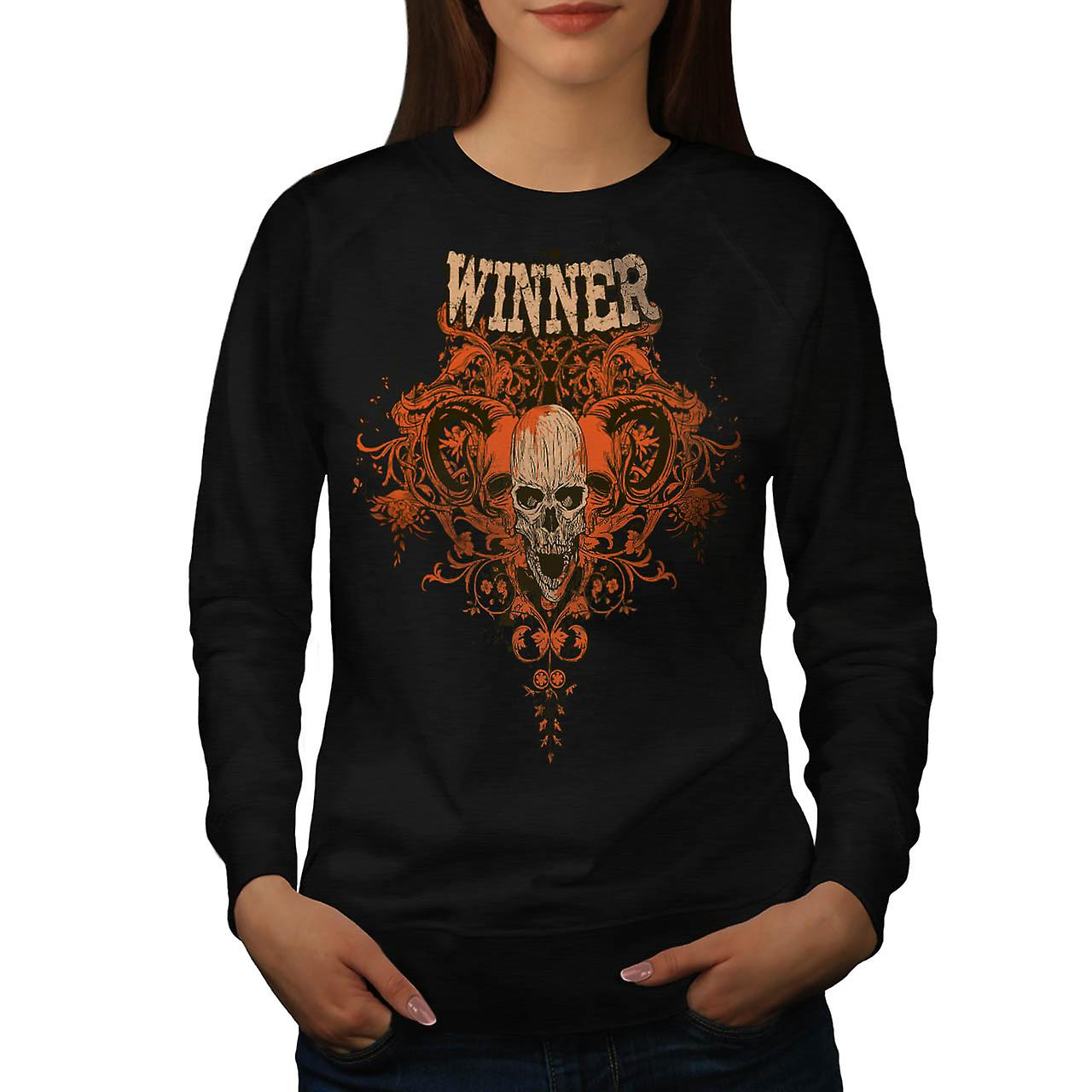 Winner Animal Skull Monster Head Women Black Sweatshirt | Wellcoda