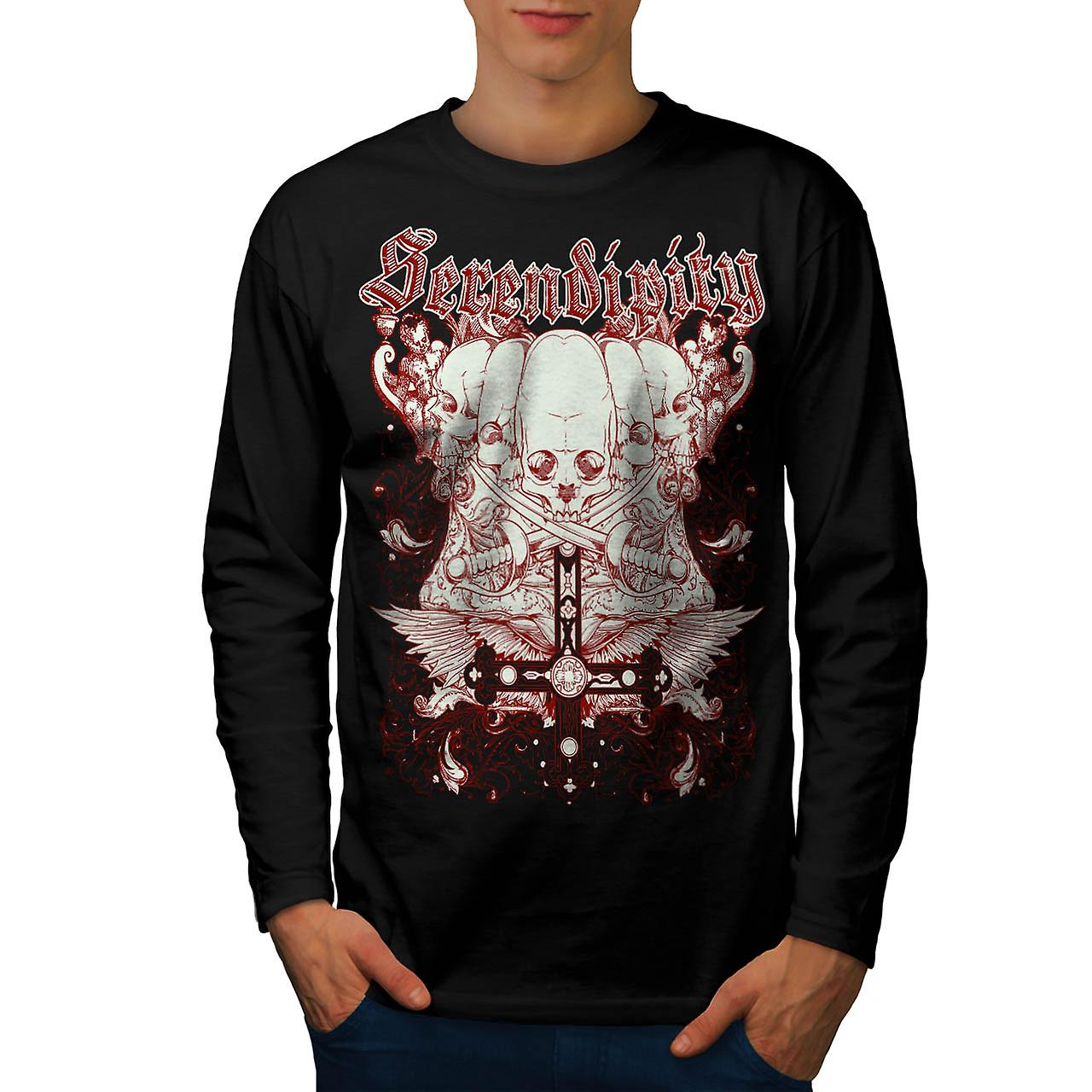 Serendipity Tombstone Grave Yard Men Black Long Sleeve T-shirt | Wellcoda