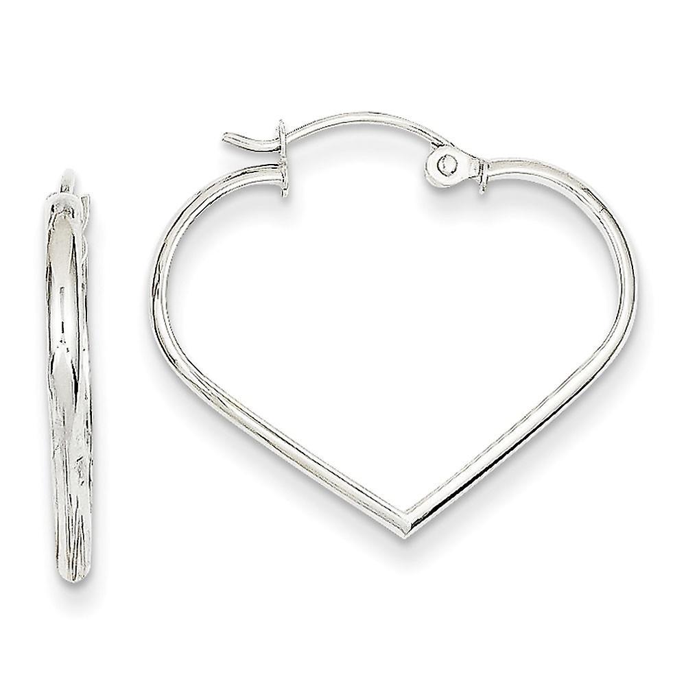 14k blanc or Polished Hinged post 2mm Heart Hoop Earrings - 1.1 Grams - Measures 18x25mm