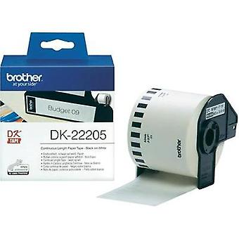 Brother Labels (roll) 62 mm x 30.48 m Paper White 1 Rolls Permanent DK22205 All-purpose labels