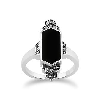 Gemondo 925 Sterling sølv Art Deco sort Onyx & Marcasite Ring
