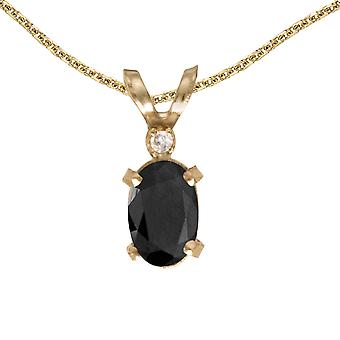 14k Yellow Gold Oval Onyx And Diamond Filagree Pendant with 18