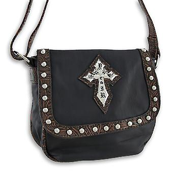 Shoulder Bag with Studs, Gothic Cross, Textured Trim