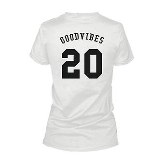 Good Vibes 20 Back Print Women's T Shirt Trendy Typographic White Tee Funny Shirt