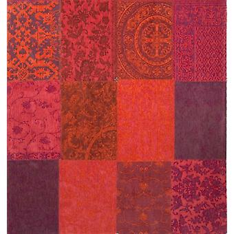 Vintage Orange & Purple Square Dining Room Rug - Louis De Poortere