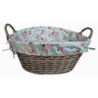 Antikke vask Finish foret vask kurv med sommerhus Rose foring