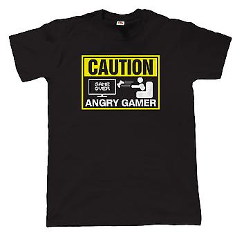 Vectorbomb, Caution Angry Gamer, Mens Funny Video Game T Shirt