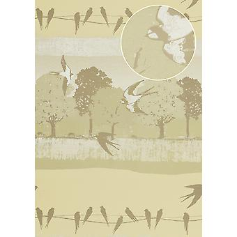 Bird wallpaper Atlas SIG-583-1 non-woven wallpaper smooth with landscapes and metallic accents bright ivory cream perl grey beige white 5.33 m2
