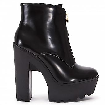 Koi Couture Black High Heel Ankle Boots