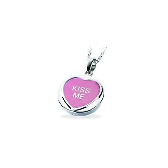 W.A.T Love Hearts 'Kiss Me' Sterling Silver Large Heart