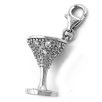 Single earrings silver pendant charm GOBLET Cup of zirconias 925 sterling silver