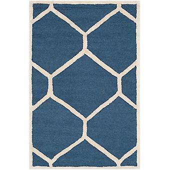 Lulu marineblå geometriske uld tæppe - Safavieh